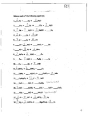 chemical rxns packet answer key