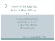 Chapter 3 - History of the Scientific Study of Media Effect (1)