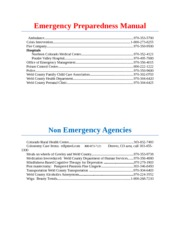 Emergency Preparedness Manual Assignment