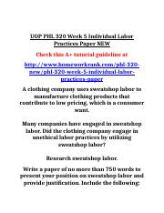 UOP PHL 320 Week 5 Individual Labor Practices Paper NEW