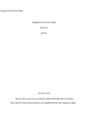 Assignment Jim Crow Laws Paper