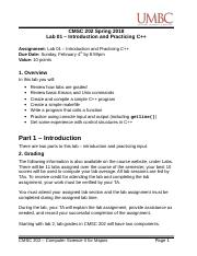 CMSC 202 - Lab 01 - Introduction and Practicing C++.doc