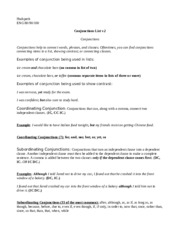 Conjunctions List v.3 CONJUNCTIONS AND PREPOSITIONS AND MODIFIERS OH MY!
