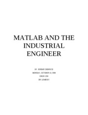 MATLAB and the Industrial Engineer