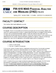 Syllabus - FIN 615 9040 Financial Analysis and Modeling (2162)