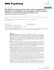 an exploratory mixed methods study of the acceptability and effectiveness of mindfulness