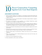 case 10 nucor corporation competing against low cost steel imports Free college essay nucor corporation in 2001: in 1972 the company adopted the name nucor corporation since that time, nucor has built three more vulcraft facilities, eight steel mills there was a surge in the import of steel.