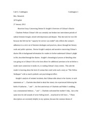 Reaction Essay Concerning Denise D. Knight's Overview of Gilman's Diaries