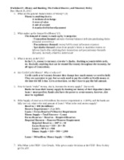 worksheet 5 worksheet 5 money and banking the federal reserve and monetary policy due 1 what. Black Bedroom Furniture Sets. Home Design Ideas