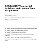 ACC 548 UOP Tutorials All Individual and Leaning Team Assignments.doc