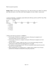 Third exam practice questions