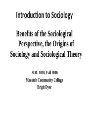 Fall 2016, SOCY. 1010, Intro, Origins and Theory
