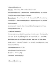 Classical Conditioning Notes
