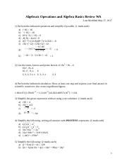 Algebraic Operations and Algebra Basics Review WA old