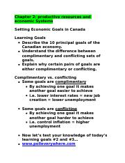 Economic Goals (complimentary vs conflicting) from ppt lecture