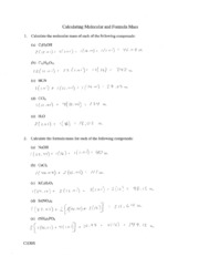 Molar Mass Practice Worksheet Answers Molar Mass Practice