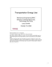 Lecture on Transportation Energy