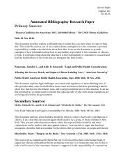 English 101-Annotated Bibliography Research Paper