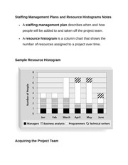 Staffing Management Plans and Resource Histograms Notes