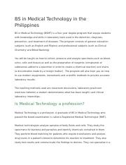 BS in Medical Technology in the Philippines