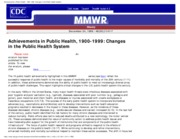 Achievements in Public Health, 1900-1999_ Changes in the Public Health Syste-1