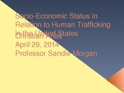 Socio-Economic Status in Relation to Human Trafficking in