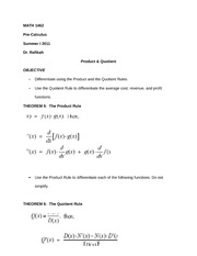 MATH 1462 Notes on Product & Quotient