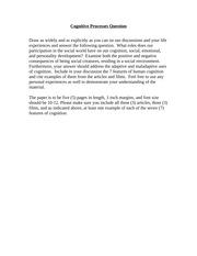 cognitive process sample essay cognition is the mental process 1 pages cognitive processes essay prompt