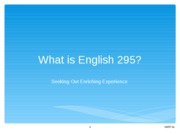 21 English 295 first day