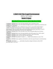 Laws 310 Week 5 Quiz Answers