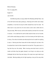 "arm wrestling with my father by brad manning thesis (""mannings arm wrestling with my father and vowells shooting dad essay"", nd)  critical analysis for the essay arm wrestling with my father by brad manning."