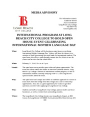 Backup of LONG BEACH CITY COLLEGE TO HOLD OPEN HOUSE EVENT TO CELEBRATE INTERNATIONAL MOTHER LANGUAG
