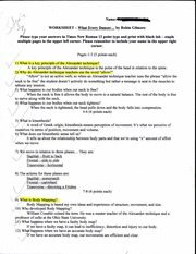 What Every Dancer Worksheet 1