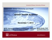 LECTURE 8 - Global Health Systems