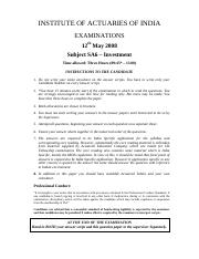 (www.entrance-exam.net)-Institute of Actuaries of India-Subject SA6- Investment Sample Paper 8