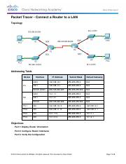 6.4.3.3 Packet Tracer - Connect a Router to a LAN