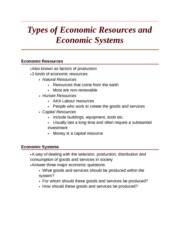 Types of Economic Resources and Economic Systems