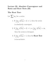 L22 Absolute Convergence Ratio and Root Tests Part II