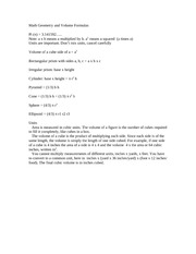 Math Geometry and Volume Formulas