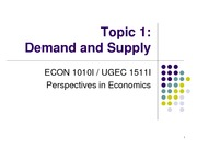 Topic 1. Demand and Supply