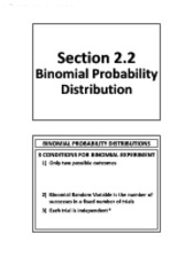 2.2 - Binomial Probability Distribution (No Solutions)