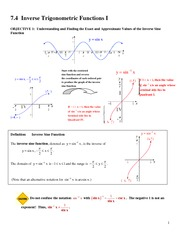 7.4 Inverse Trigonometric Functions I