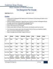 nursing time management template - fox time management plan chamberlain college of nursing