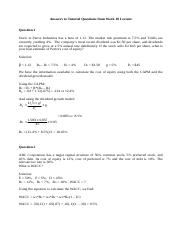 Tutorial Answers from Week 10 Lecture - Cost of Capital(1)