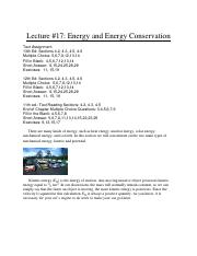 L17-Energy and Energy Conservation