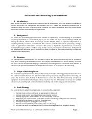 7. Evaluation of Outsourcing of IT operations