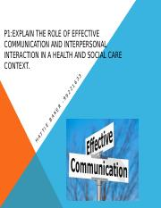 role of effective communication and interpersonal