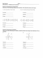 Function worksheet.pdf - Math Models Name Worksheet 4.1 Relations ...