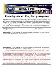 Reasoning Statement Essay Prompt Assignment