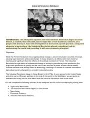Industrial Revolution WebQuest